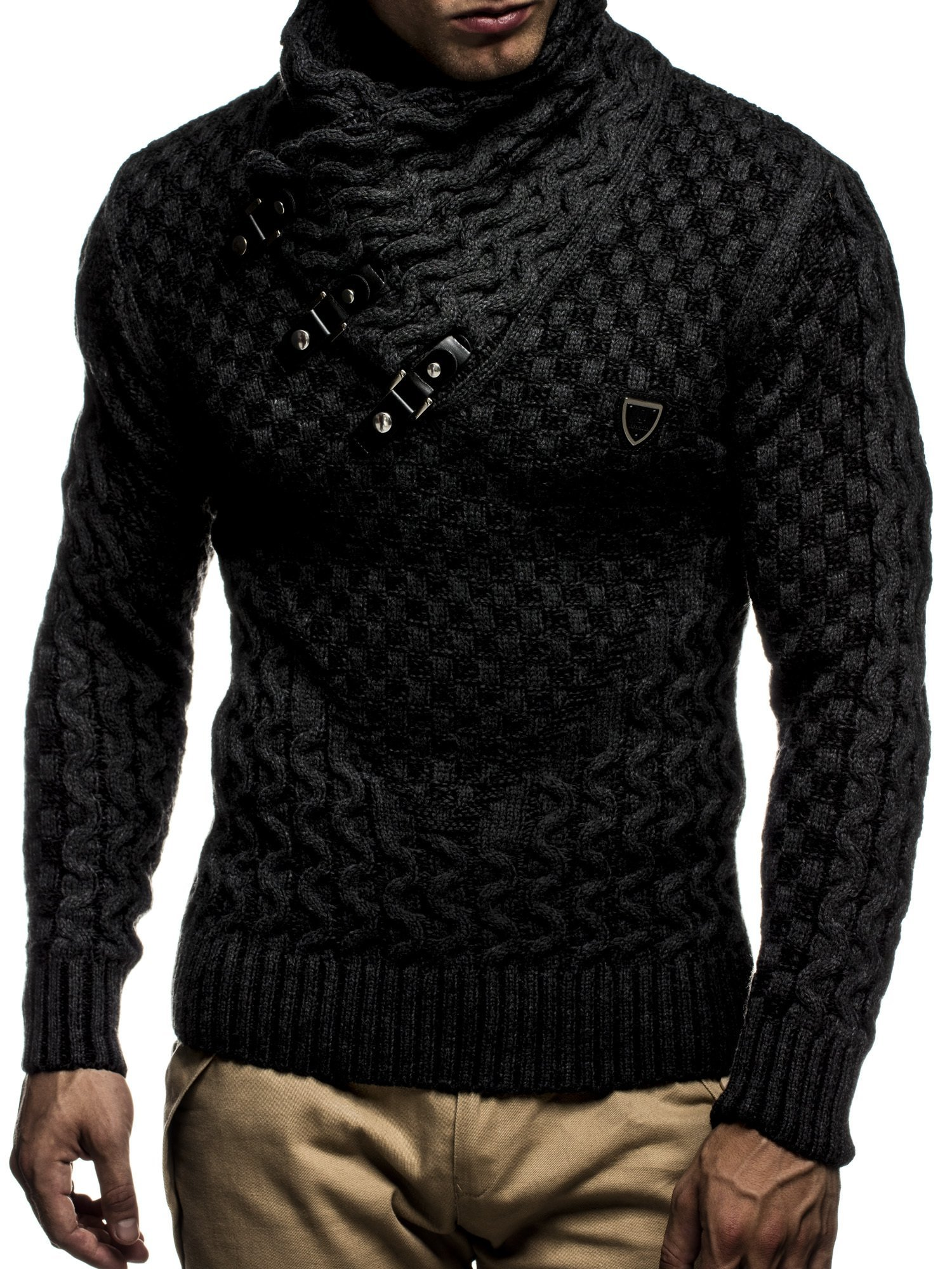 Leif Nelson LN5255 Men's Pullover With Faux Leather Accents Black Anthracite Size Small