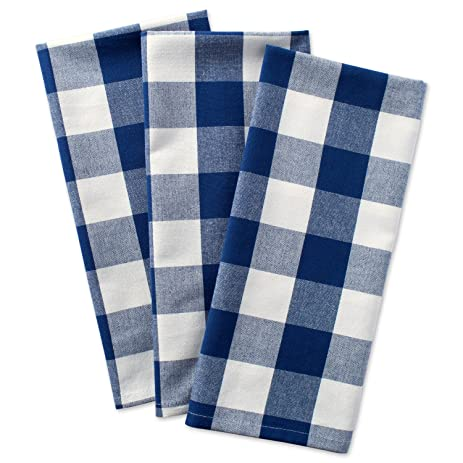 DII Cotton Buffalo Check Plaid Dish Towels, 20x30u0026quot; Set Of 3,  Monogrammable Oversized