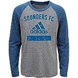 MLS Seattle Sounders FC 男孩-三种混合设备长袖 T 恤,麻灰色,M 号 (5-6)