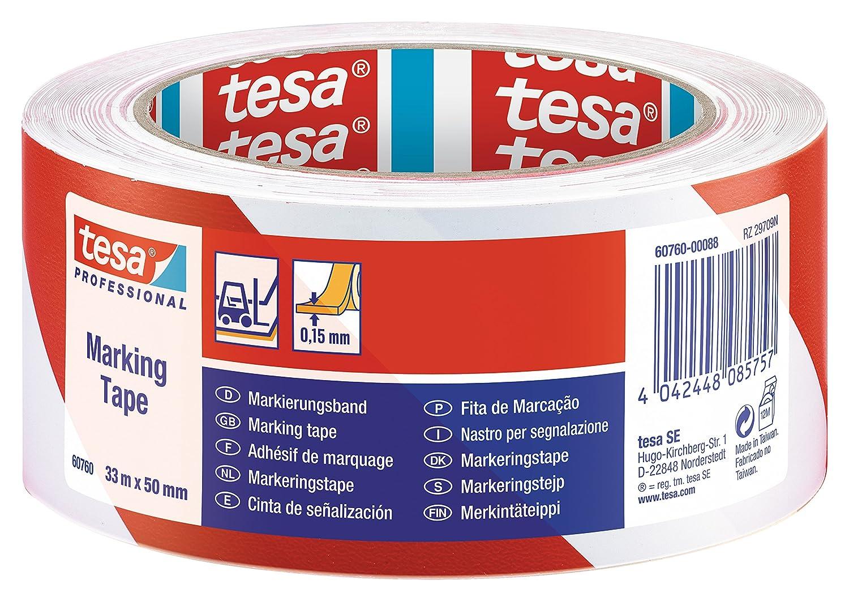 tesa 607600009615 PVC Floor and Lane Marking Tape, 33 m x 50 mm - Red Tesa®