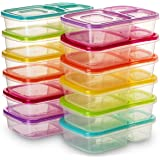 BloominGoods 3 Compartment Bento Lunch Box Containers | (Pack of 12) Reusable Meal Prep Containers | Perfect for Work, School or Outdoor Activity | Leak-Proof, Dishwasher & Microwave Safe