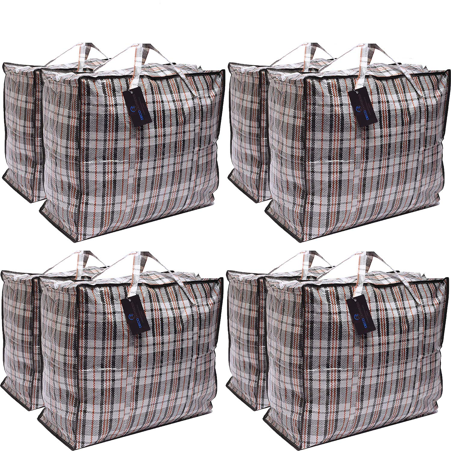 Pack of 10 XX- Large STRONG Storage Laundry Shopping Bags – XXL Moving Bags with Zipper & Handles Checkered - Reusable Store Zip Bag
