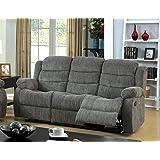 Furniture of America Blake Chenille 2-Recliner Sofa, Gray