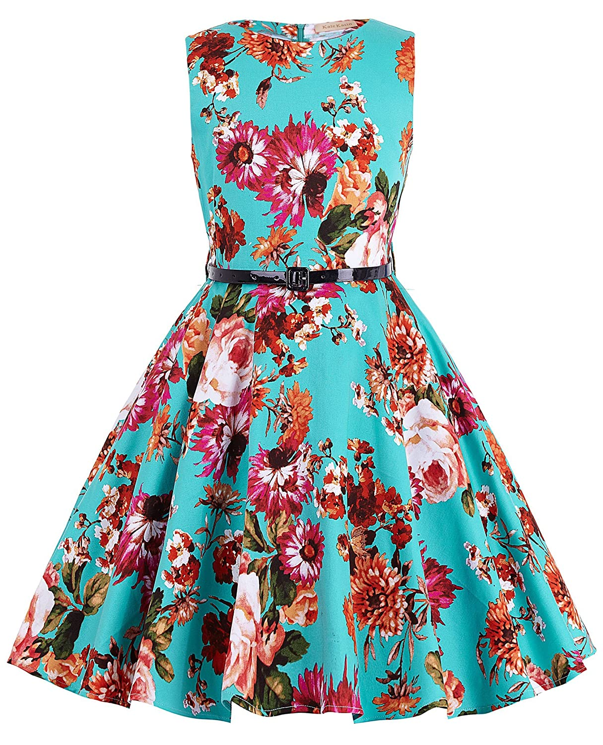 Amazon.com: Kate Kasin Girls Sleeveless Vintage Print Swing Party ...