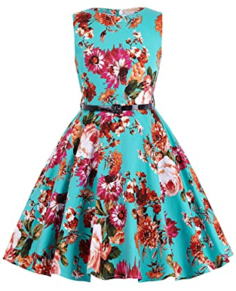 edd12ecc1b Girl s Knee-Length Florla Vintage Retro Cute Wedding Party Swing Dresses 6~7Yrs  K250