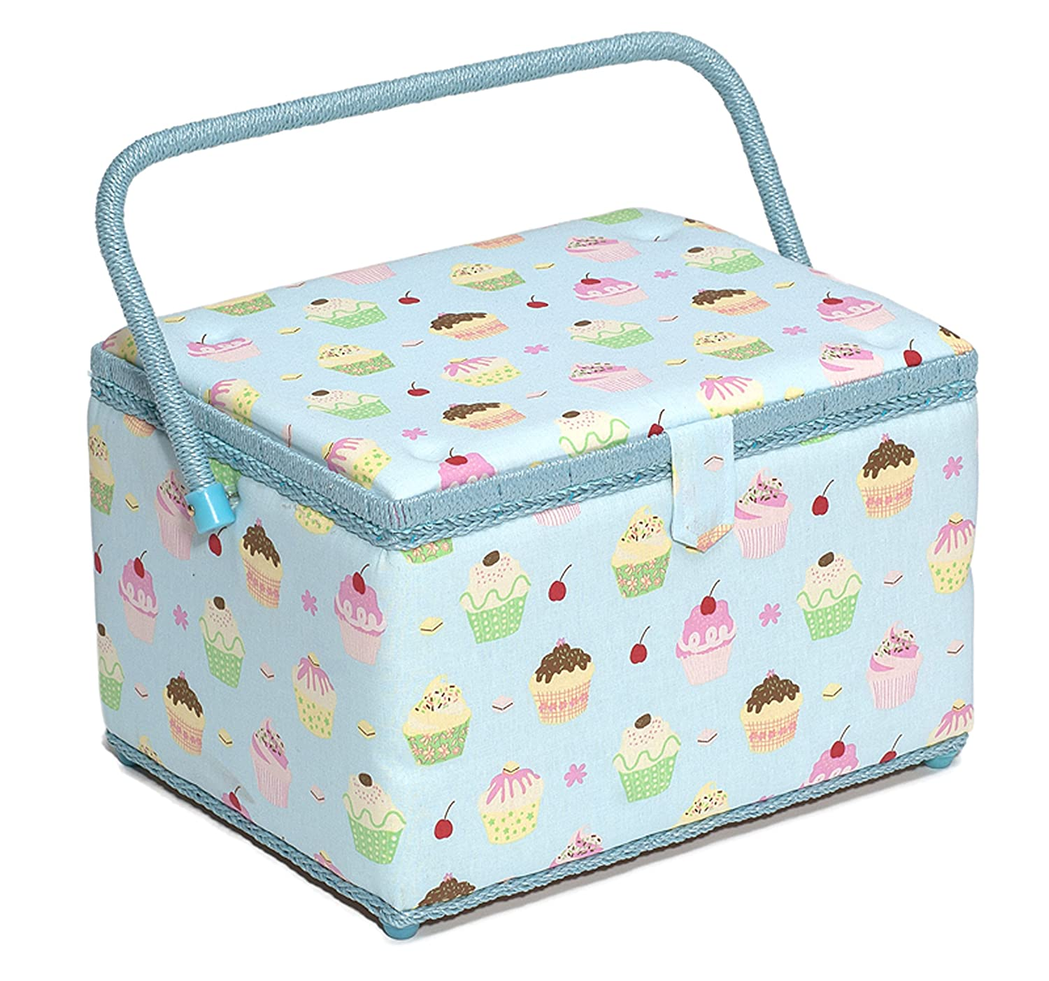 Hobby Gift MRL/18 | Cupcakes On Blue Large Sewing Basket Groves Asia