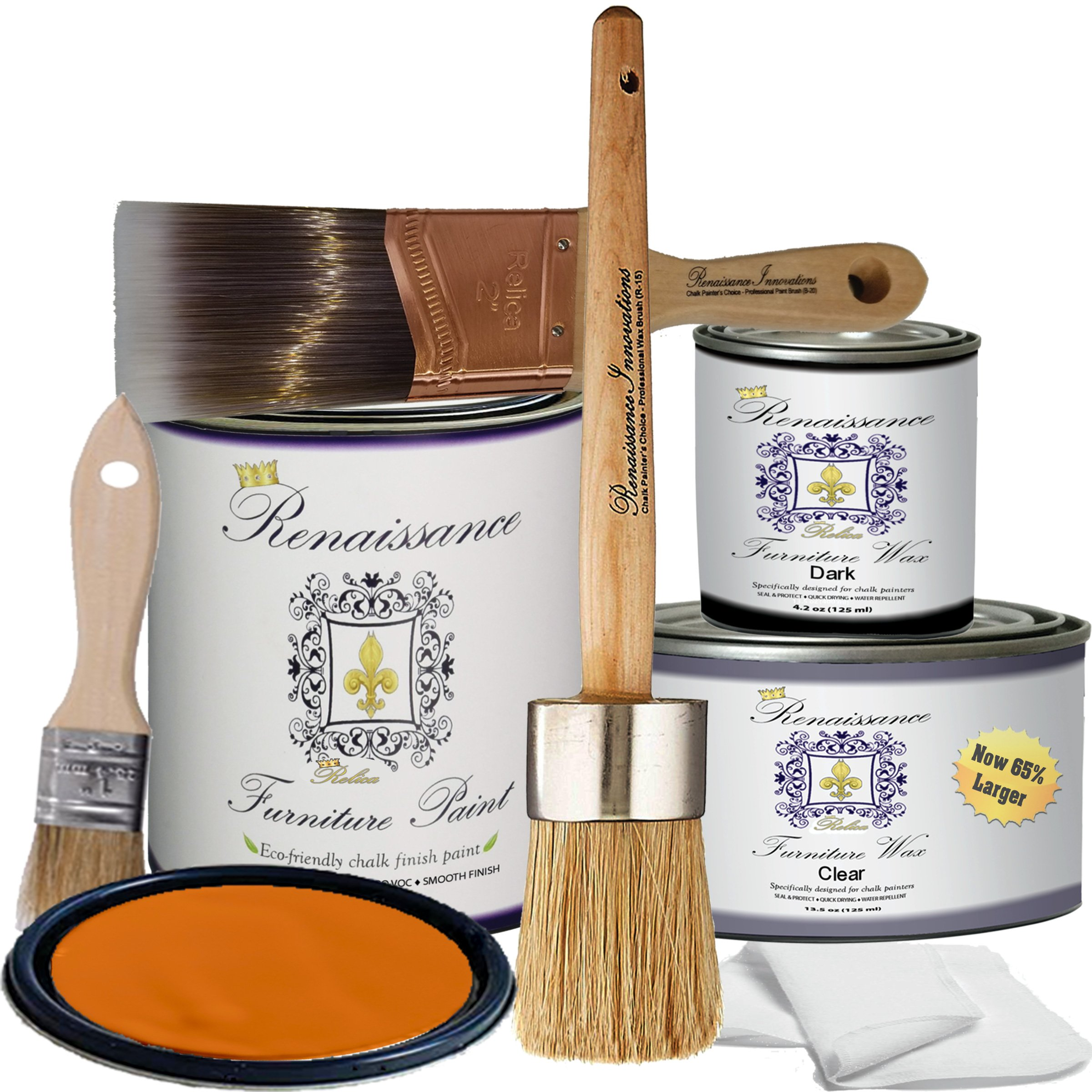 Renaissance Chalk Finish Paint - Marigold - Deluxe Starter Kit - Chalk Furniture & Cabinet Paint - Non Toxic, Eco-Friendly, Superior Coverage