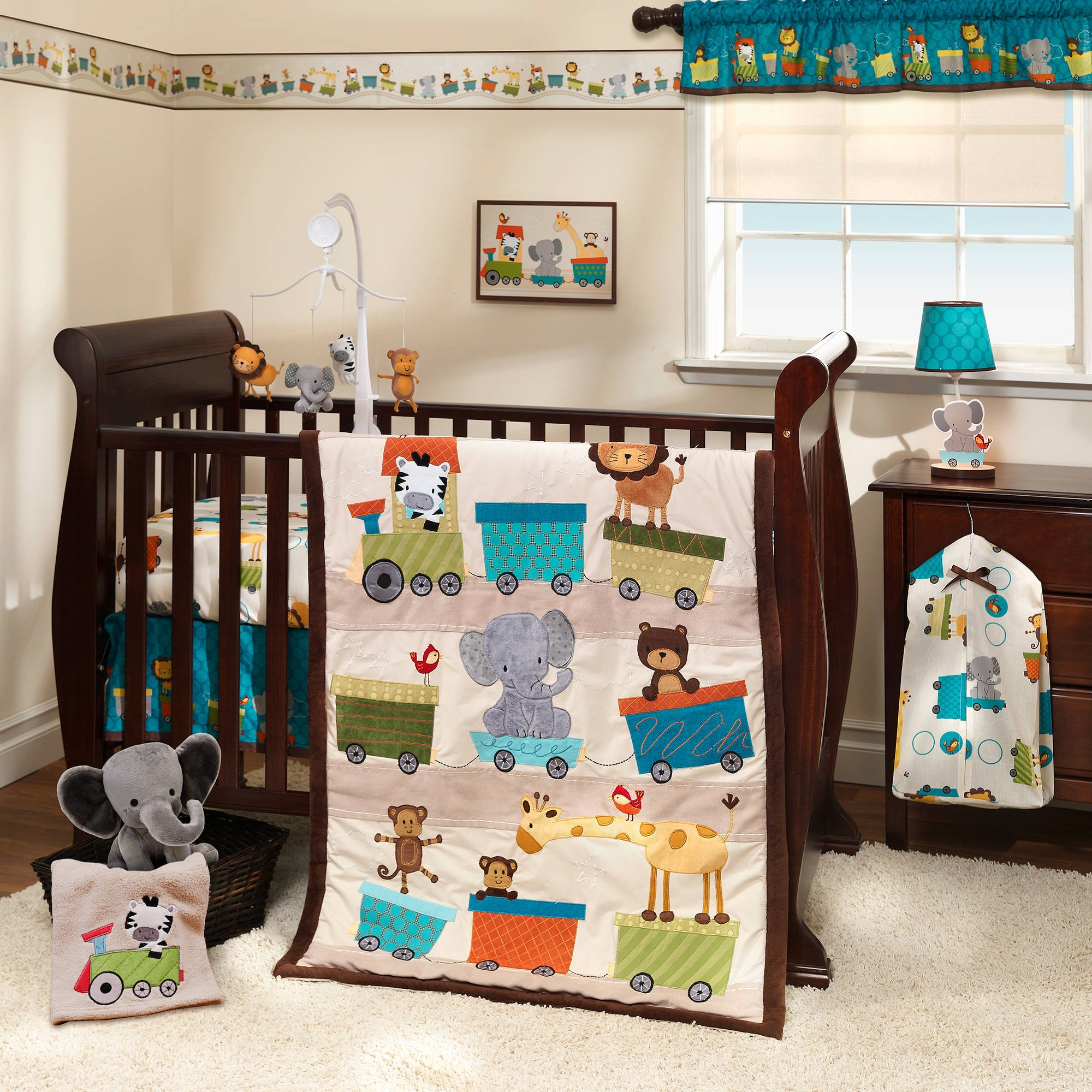 3 Piece Brown Blue Multicolor Baby Animals Crib Bedding Set, Newborn Train Themed Nursery Bed Set Infant Child Elephant Giraffe Monkey Lion Blanket Quilt Horizontal Stripe pattern, Polyester Cotton
