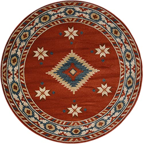 Nevita Collection Southwestern Native American Design Area Rug Rugs Geometric Orange Terra , 5 3 Round