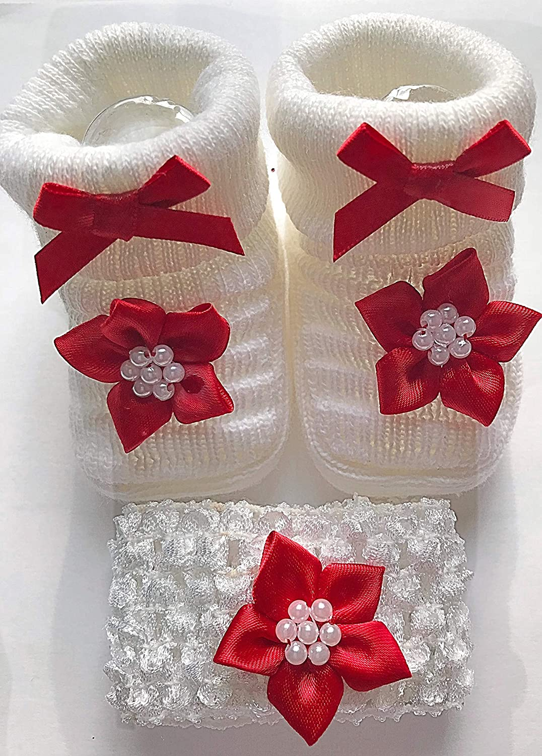 Baby Girls Newborn Xmas Christmas Red Flower Bootees Knitted Booties Shoes & Crochet Headband- In Gift Bag- 0-3 Months Soft Touch