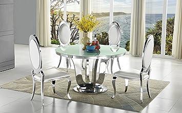Wohnenluxus 2X Esszimmerstuhl Leon Barock Design Weiß Kunstleder Stuhl  Stühle Esszimmer Esszimmerstühle Rokoko