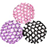 HipGirl Boutique Girls Hair Bow Ties Ponytail Holders, No Crease Ouchless Stretchy Elastic Styling Tool Accessories (3pc Rhinestone Ballet Dance Bun Cover)