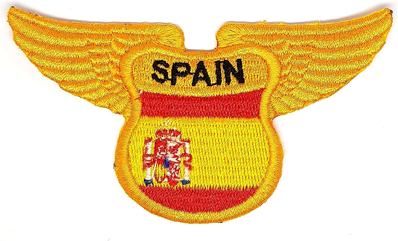 Parche escudo de España con alas de águila con escudo bordado para planchar o coser en parche. Bandera nacional de España de España la Rojigualda emblema parches para camisas, uniformes, camisas, chalecos,