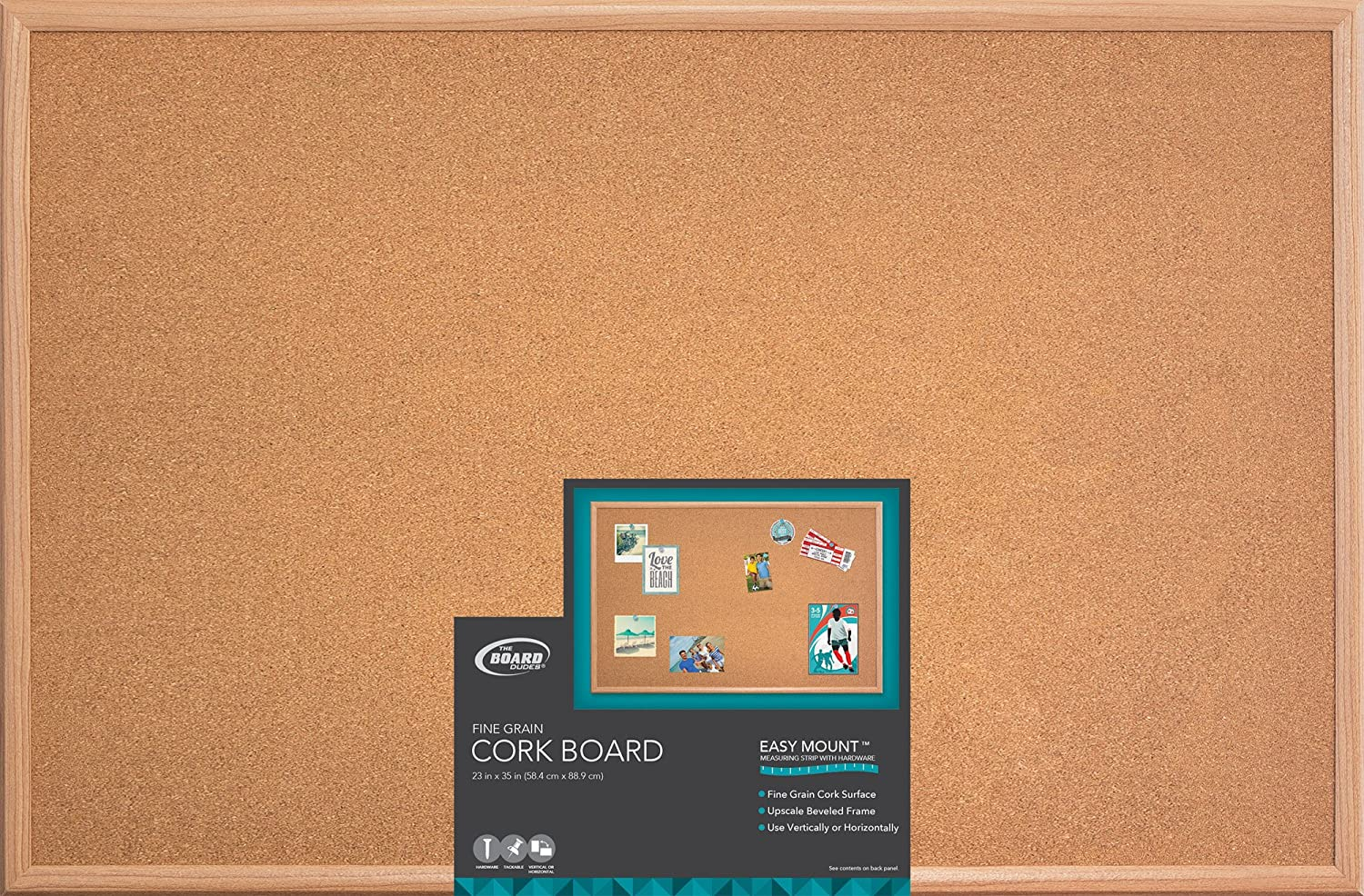amazoncom board dudes 23 x 35 wood style frame cork board cxm86 dry erase boards office products
