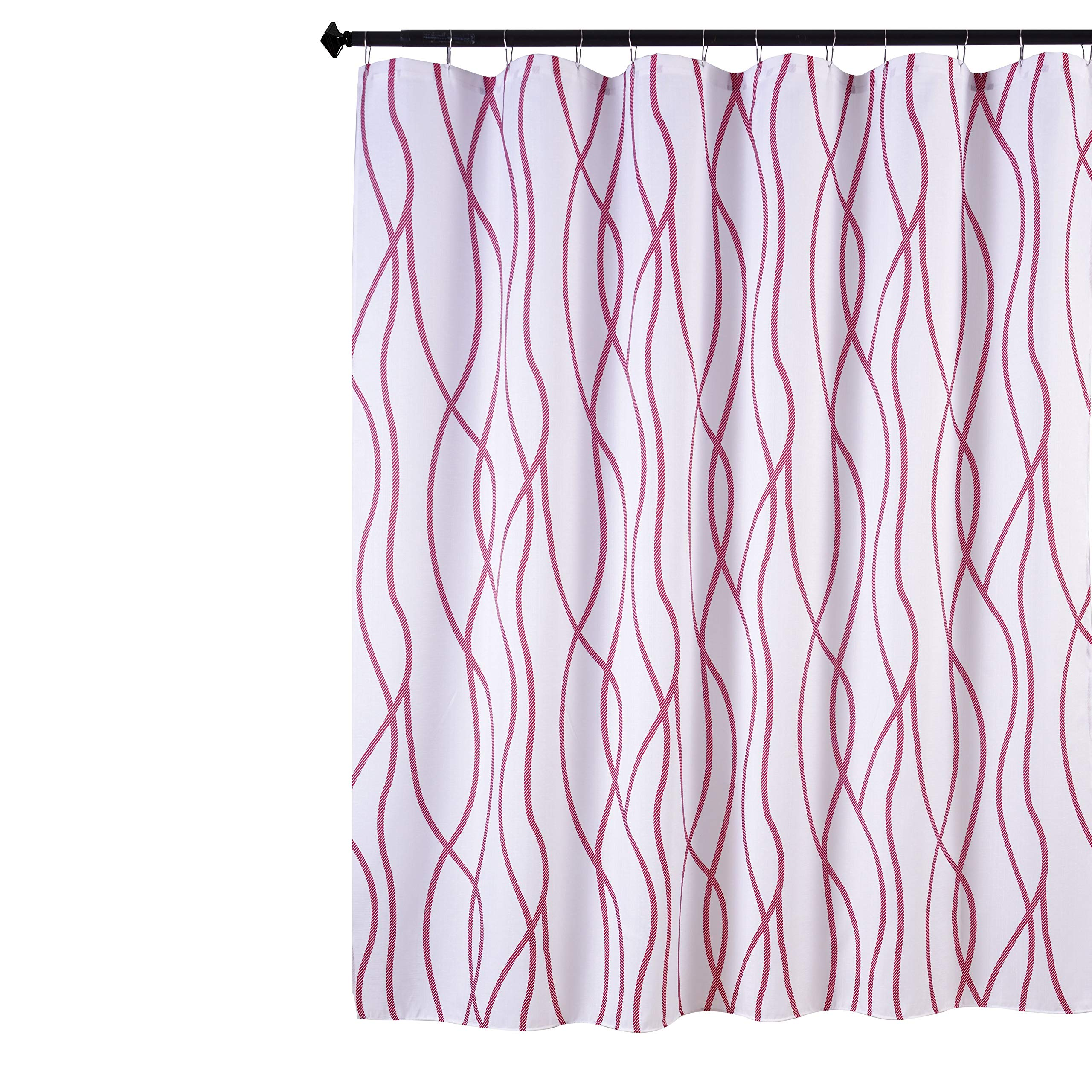 Biscaynebay Textured Fabric Shower Curtain Printed Dancing Bathroom Curtains Burgundy 72 by 72 Inches