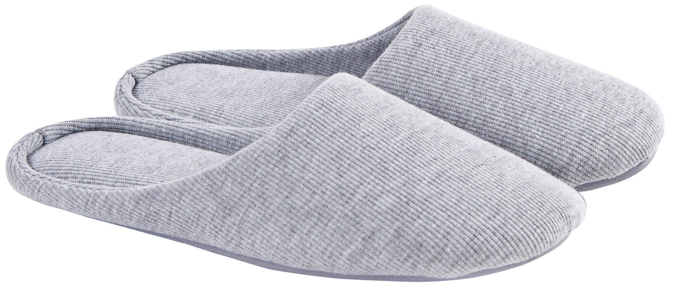 Ofoot Women's Cotton Memory Foam Washable Anti-slip Indoor Slippers Grey Size Medium 7-8 US
