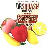 Dr Squash Squishies Pack - Jumbo Squishies Slow Rising Fruit for Boys and Girls 5 Pack Lemon Banana Mango Strawberry Peach
