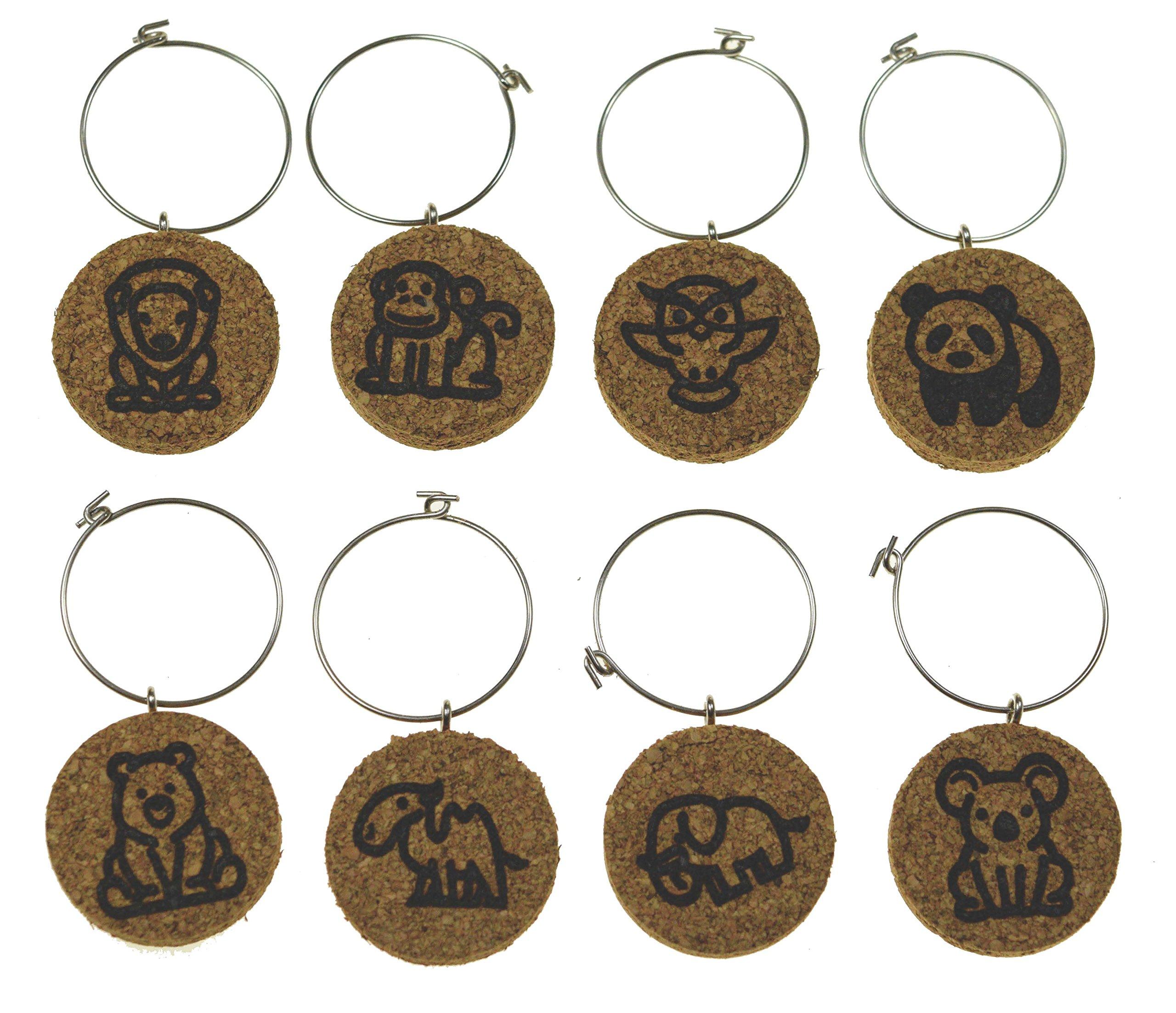 Cork Wine Glass Charms (20+ Unique Designs) - Set of 8 - Zoo Animal Designs: Lion, Monkey, Owl, Panda, Bear, Camel, Elephant, Koala - Tags to Mark Your Drink (Zoo Animals)