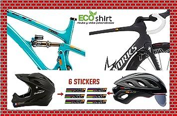 Ecoshirt 27-2C15-9AV8 Pegatinas Nombre con Bandera España Bike Casco MTB Road Fox Rock Shox Stickers: Amazon.es: Coche y moto