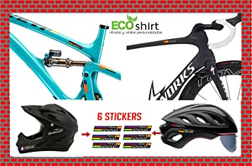 ECOSHIRT PEGATINAS NOMBRE CON BANDERA ESPAÑA BIKE CASCO MTB ROAD FOX ROCK SHOX STICKERS