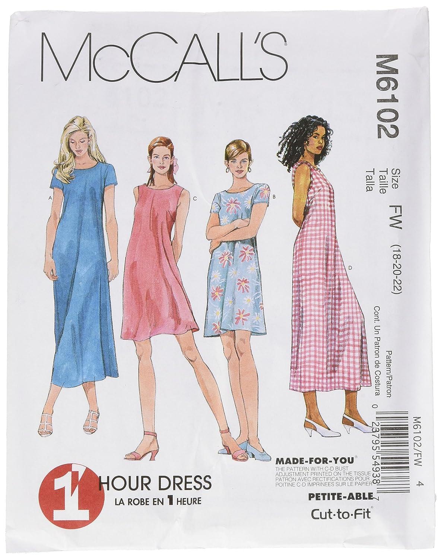 McCalls M6102 - Patrones de costura para confeccionar vestido para ...