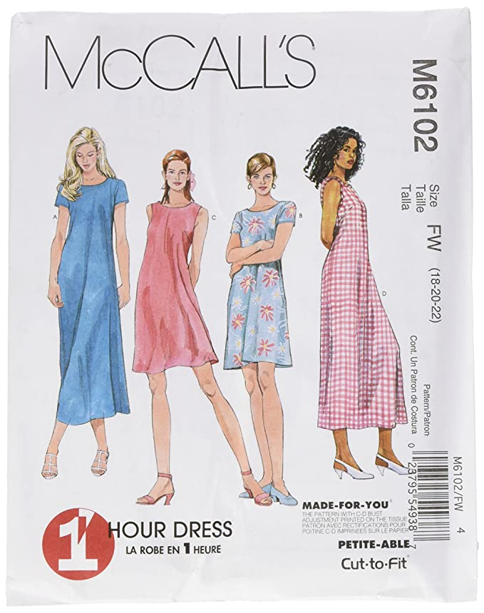 Amazon.com: McCall\'s Patterns M6102 Misses\' Dress In 2 Lengths, Size ...