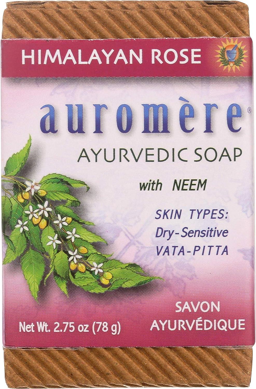 Auromere Ayurvedic Bar Soap, Himalayan Rose - Eco Friendly, Handmade, Vegan, Cruelty Free, Natural, Non GMO (2.75 oz), 2 pack