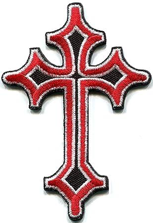 Celta cruz roja medieval gótico fangbanger bordado Applique parche para planchar (nueva: Amazon.es: Juguetes y juegos