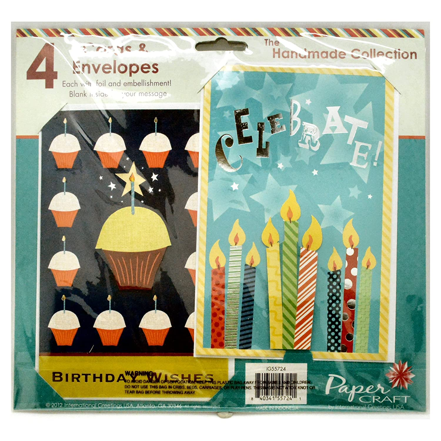 Amazon Papercraft Birthday 2 Embellished Greeting Card Bundle