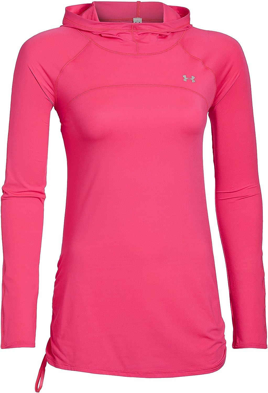 Under Armour, Felpa con cappuccio Donna Fitness Sun Shader 50, Rosa (Pink Shock), XL 1257768