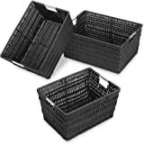 Whitmor Rattique Storage Baskets Set of 3, Black