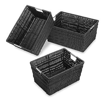 Amazon.com Whitmor Rattique Storage Baskets - Black - (3 Piece Set) Home u0026 Kitchen  sc 1 st  Amazon.com & Amazon.com: Whitmor Rattique Storage Baskets - Black - (3 Piece Set ...