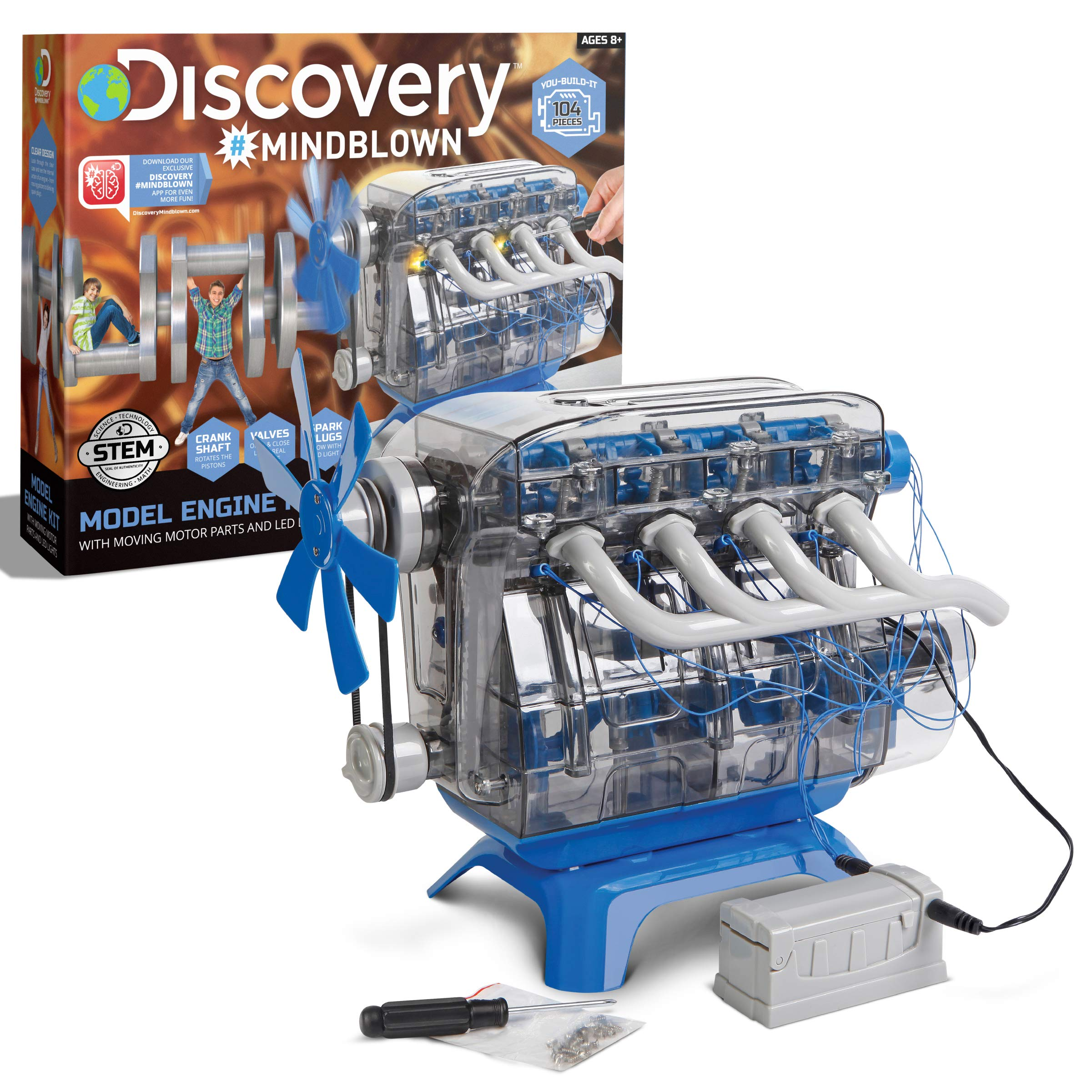 Discovery Kids #MINDBLOWN Model Engine Kit, DIY Mechanic Four Cycle Internal Combustion Assembly Construction, Comes W/Valves, Cylinders, Hardware & More, Encourages STEM Creativity/Critical Thinking