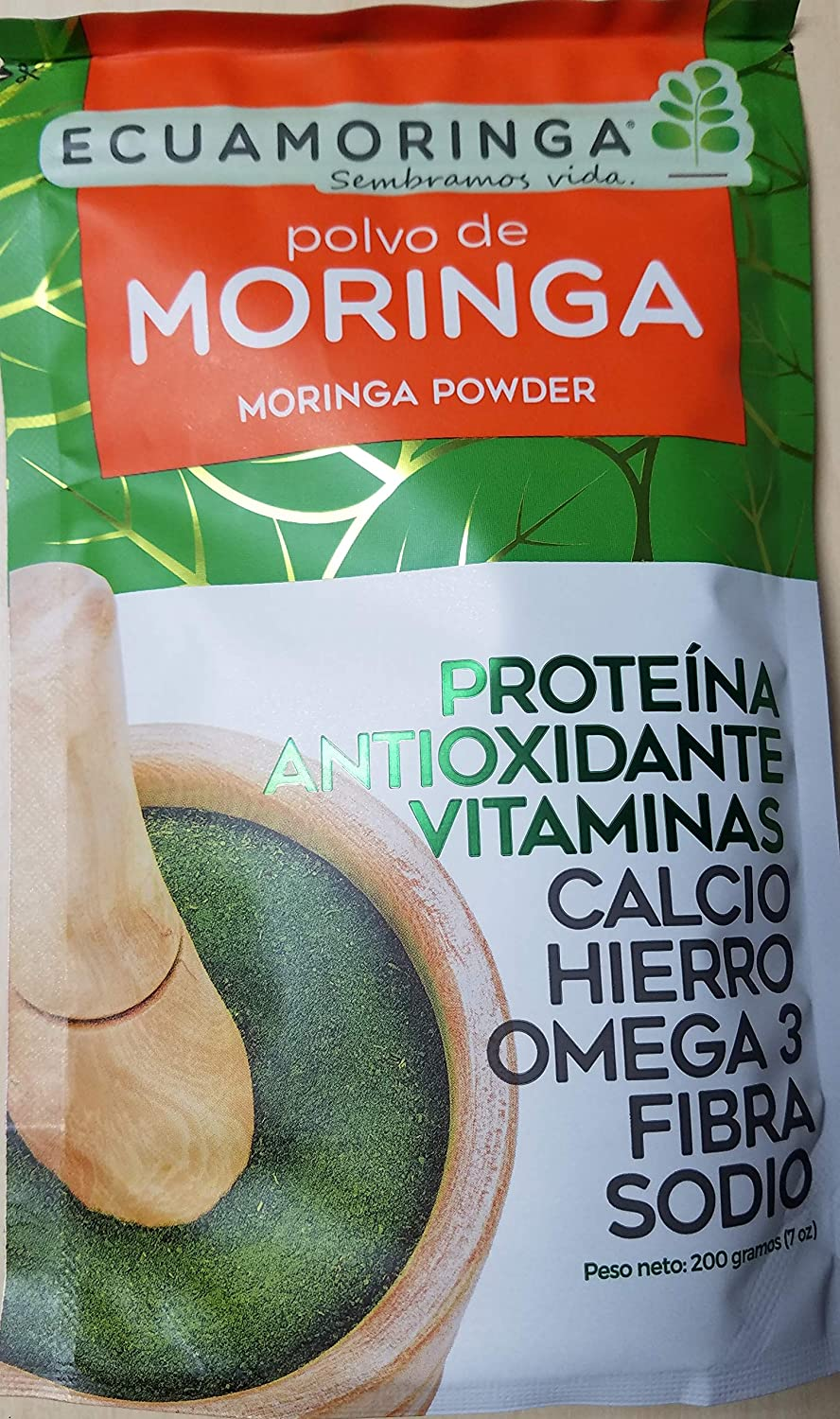 Amazon.com : Moringa Leaf Powder - 7oz (2 Pack) Resealable Bag - 100% Raw From Ecuador - Protein Viatmins Antioxidants : Grocery & Gourmet Food