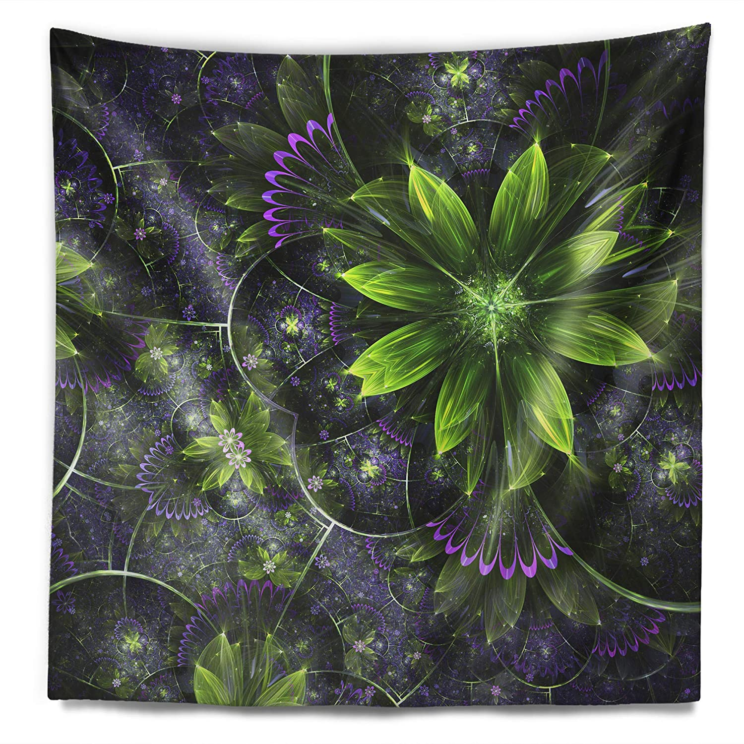 Designart TAP10289-32-39 Glossy Green Purple Fractal Flowers Floral Blanket D/écor Art for Home and Office Wall Tapestry Created On Lightweight Polyester Fabric x 39 in Medium: 32 in