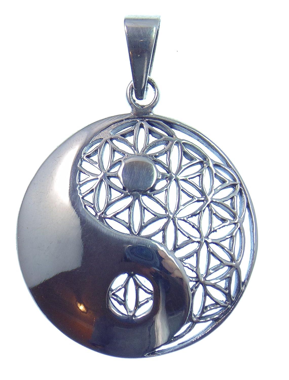 Silber Anhänger Blume des Lebens & Yin Yang, 925 Sterling Silber, Symbol der Einheit und des Gleichgewichts im Universum, Versand innerhalb 24 Stunden !!! Solitär JeSiPenBlu007
