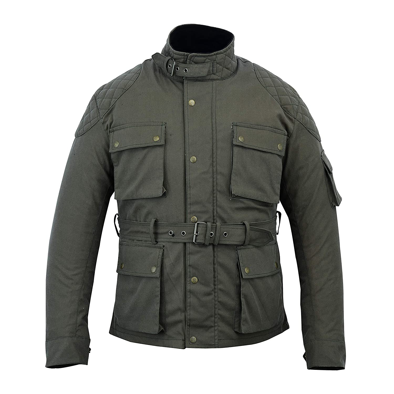 Modernage Cera de algod/ón encerado para motocicleta chaqueta de motorista con forro WP motocicleta color verde militar