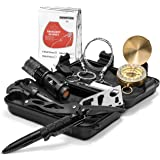 AvidScout Emergency Survival Kit - Life Saving Tools in a Compact Waterproof Case - Flashlights, Compass, Fire Starter, Multi-tool, Blanket and more. For Camping Hiking Biking Hunting Fishing...