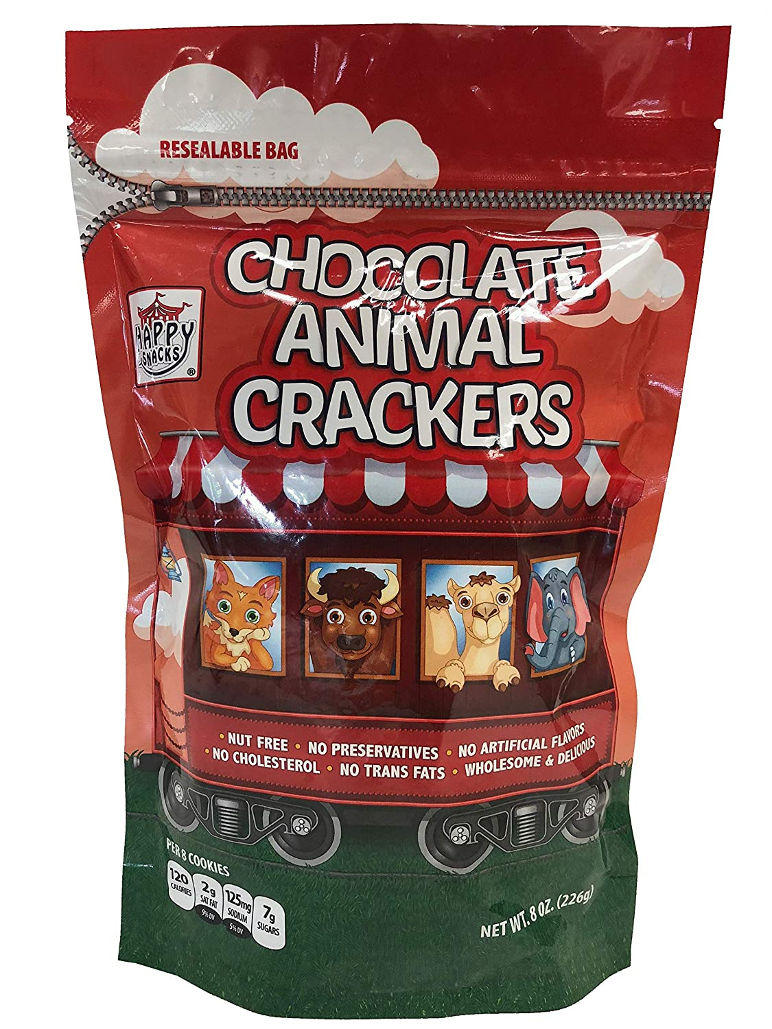 Happy Snacks Animal Crackers,Chocolate, 8 Ounce Resealable Bag (Pack of 6)