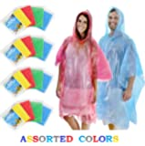 Wealers Bulk Pack Emergency Disposable Ponchos 5 Different Colors Red Blue Yellow White Green Perfect for Disneyland parks, or Your Camping Group
