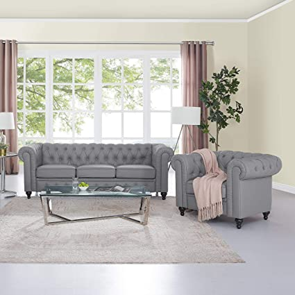 Chesterfield Sofa With Accent Chairs.Amazon Com Naomi Home Emery Chesterfield Sofa Accent Chair Gray