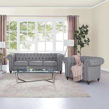 Amazon Com Naomi Home Emery Chesterfield Sofa Accent Chair Gray
