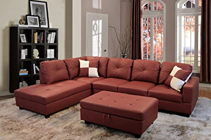 Beverly Fine Funiture CT94A Sectional Sofa Set, 94A Burgundy