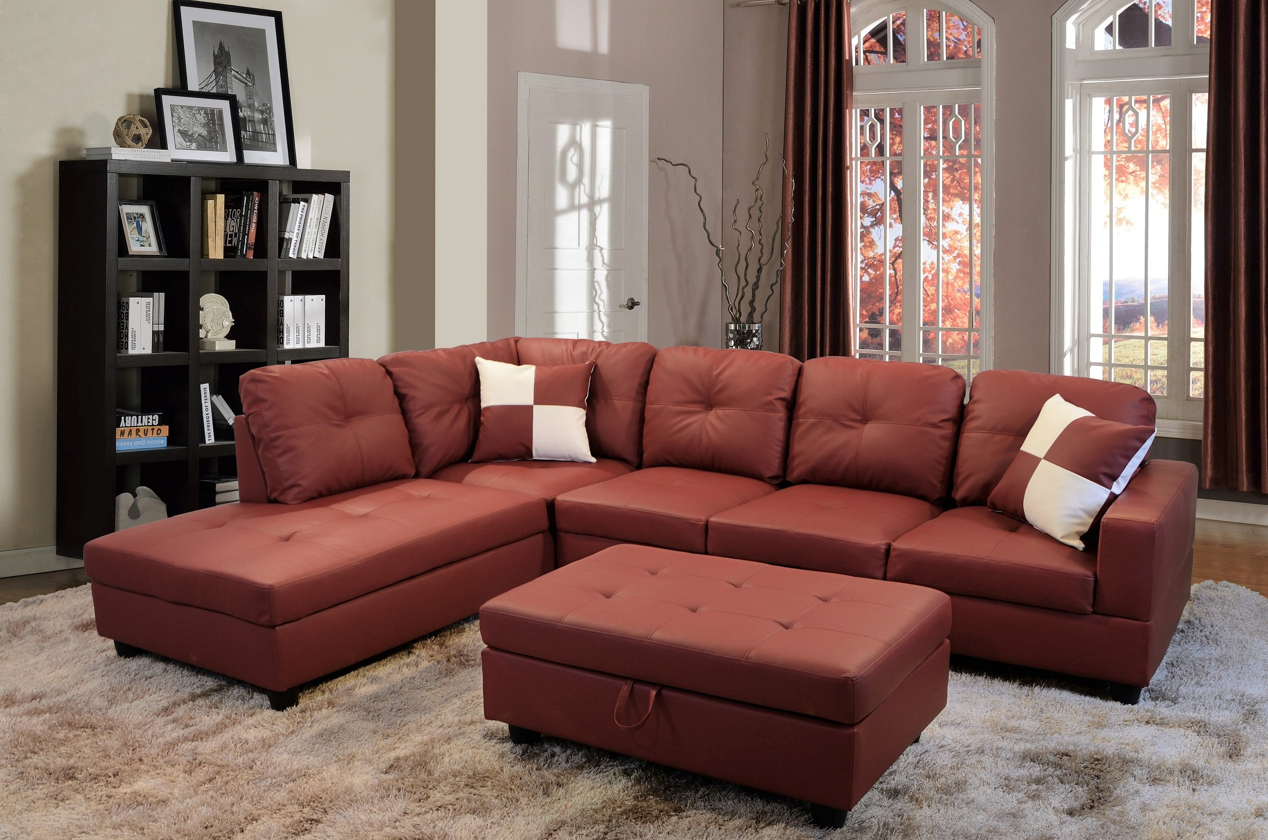 Details about Golden Coast Furniture Sectional Sofa Set (Burgundy,Left  Facing)