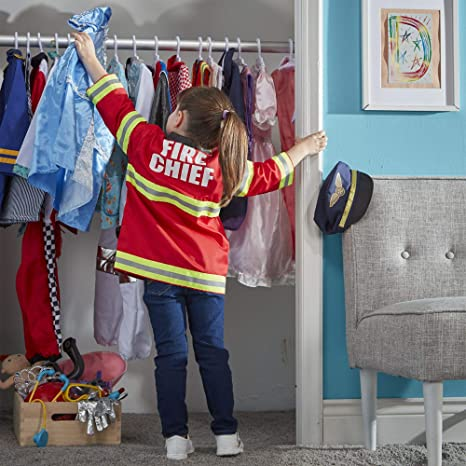 d532d56b1 Amazon.com: Melissa & Doug Fire Chief Role Play Costume Set (Pretend Play,  Frustration-Free Packaging, Bright Red, 17.5