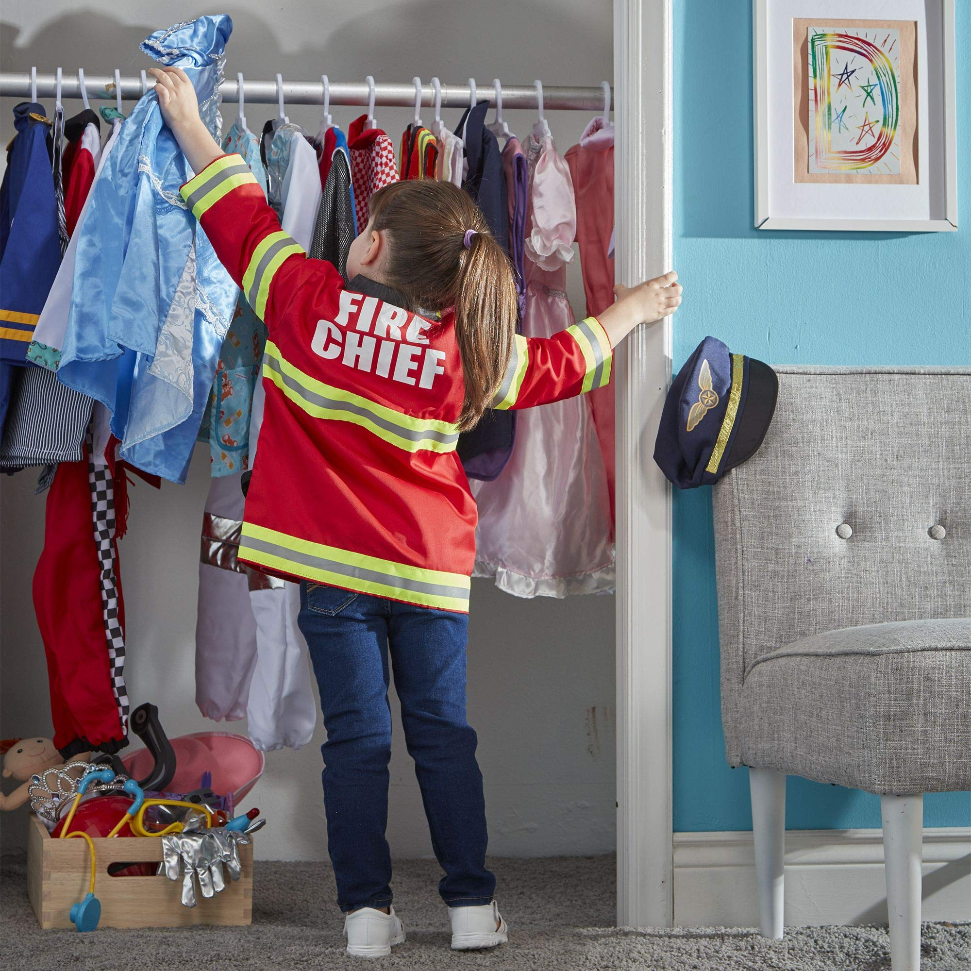 Melissa & Doug Fire Chief Role Play Costume Set, Pretend Play, Frustration-Free Packaging, Bright Red, 17.5'' H x 24'' W x 2'' L by Melissa & Doug (Image #2)