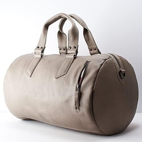 c75b7d85de3e2f Amazon.com: Capra Leather Duffle Bag 35L for Men, Grey Shoulder Travel  Weekender, Gym Sports Carry On, Handmade Overnight Clothes Holdall.