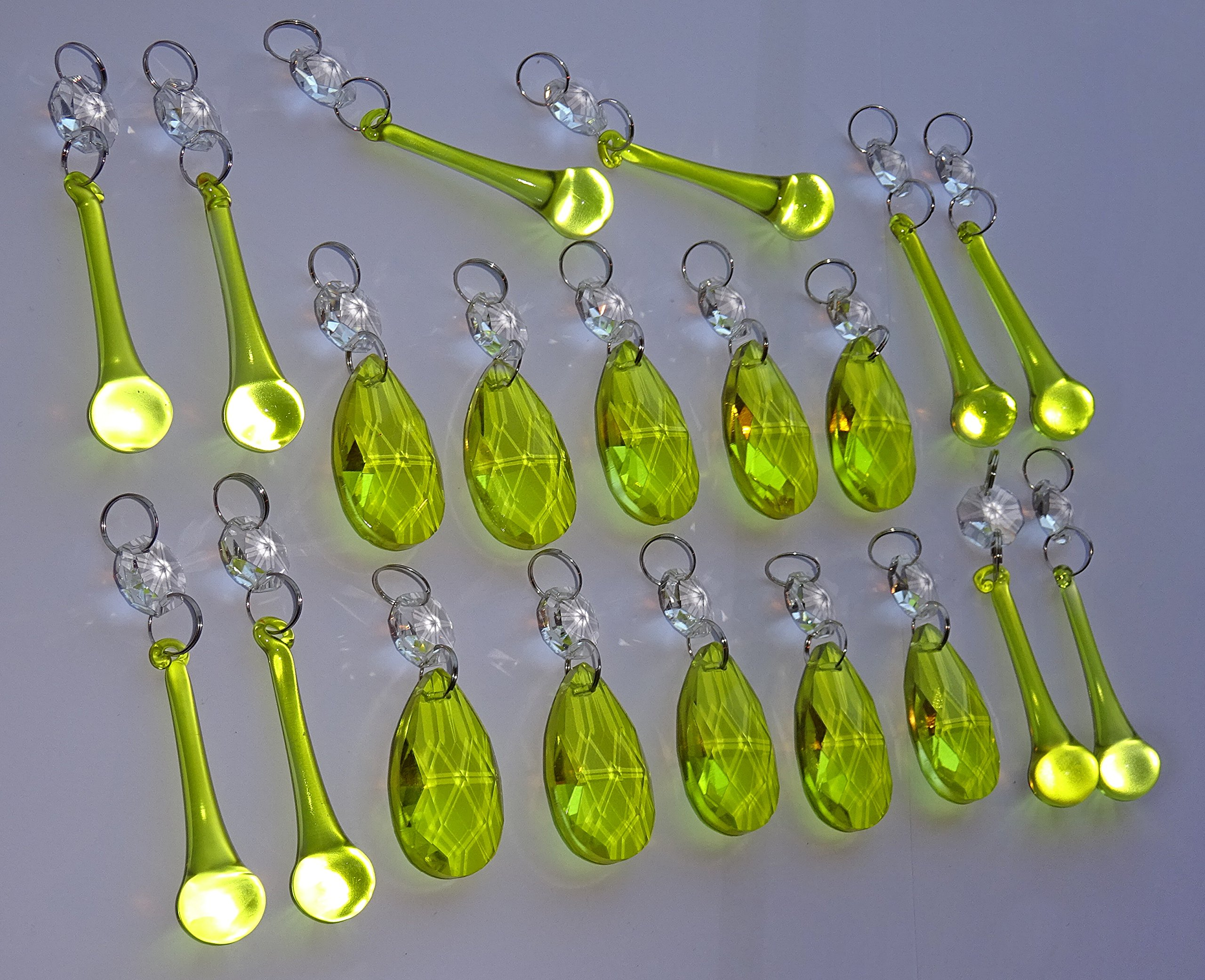 10 ANTIQUE SAGE GREEN CHANDELIER GLASS CRYSTALS DROPS ORB DROPLETS BEADS PRISMS