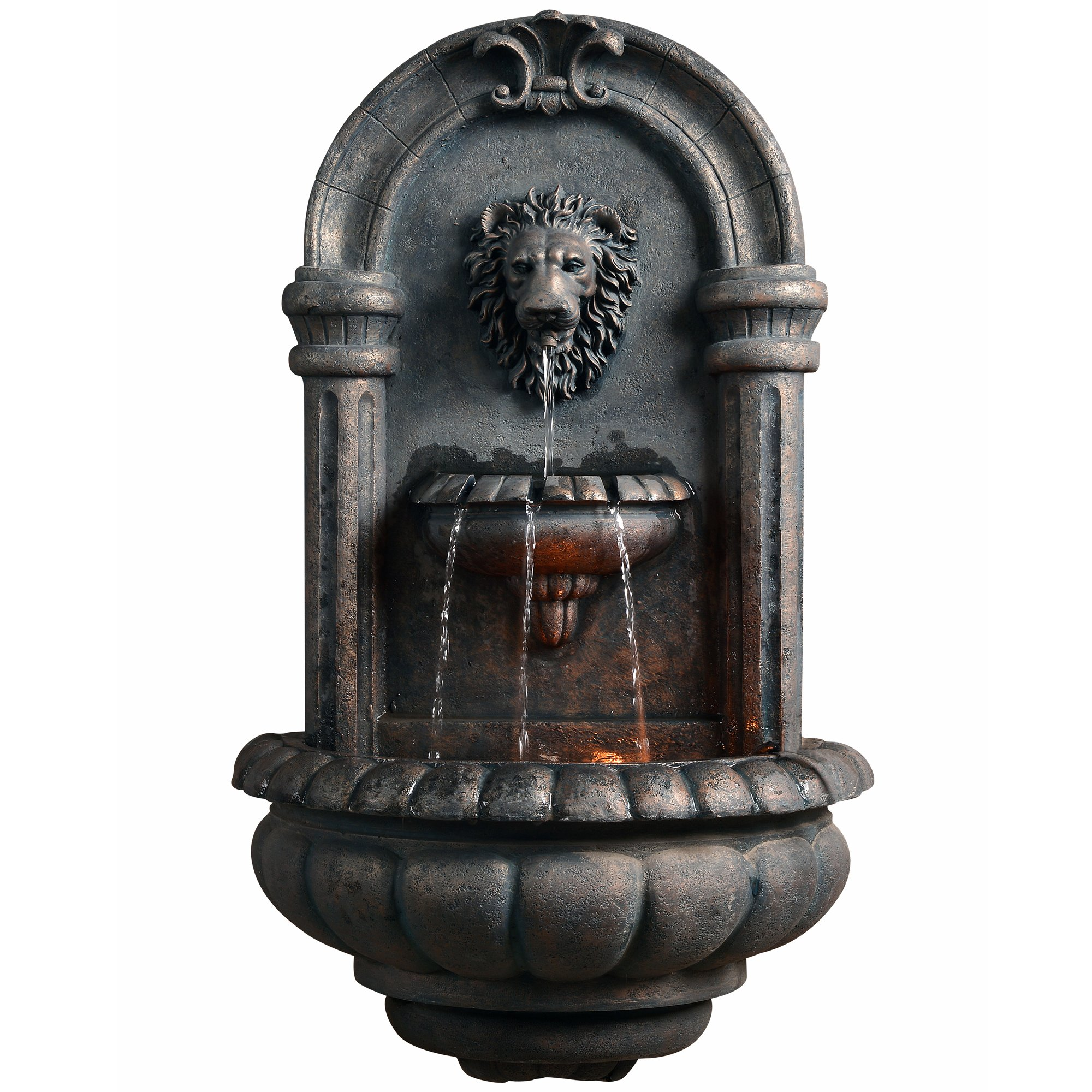 Peaktop Outdoor Royal Lion Head Wallfall Fountain W/LED Light