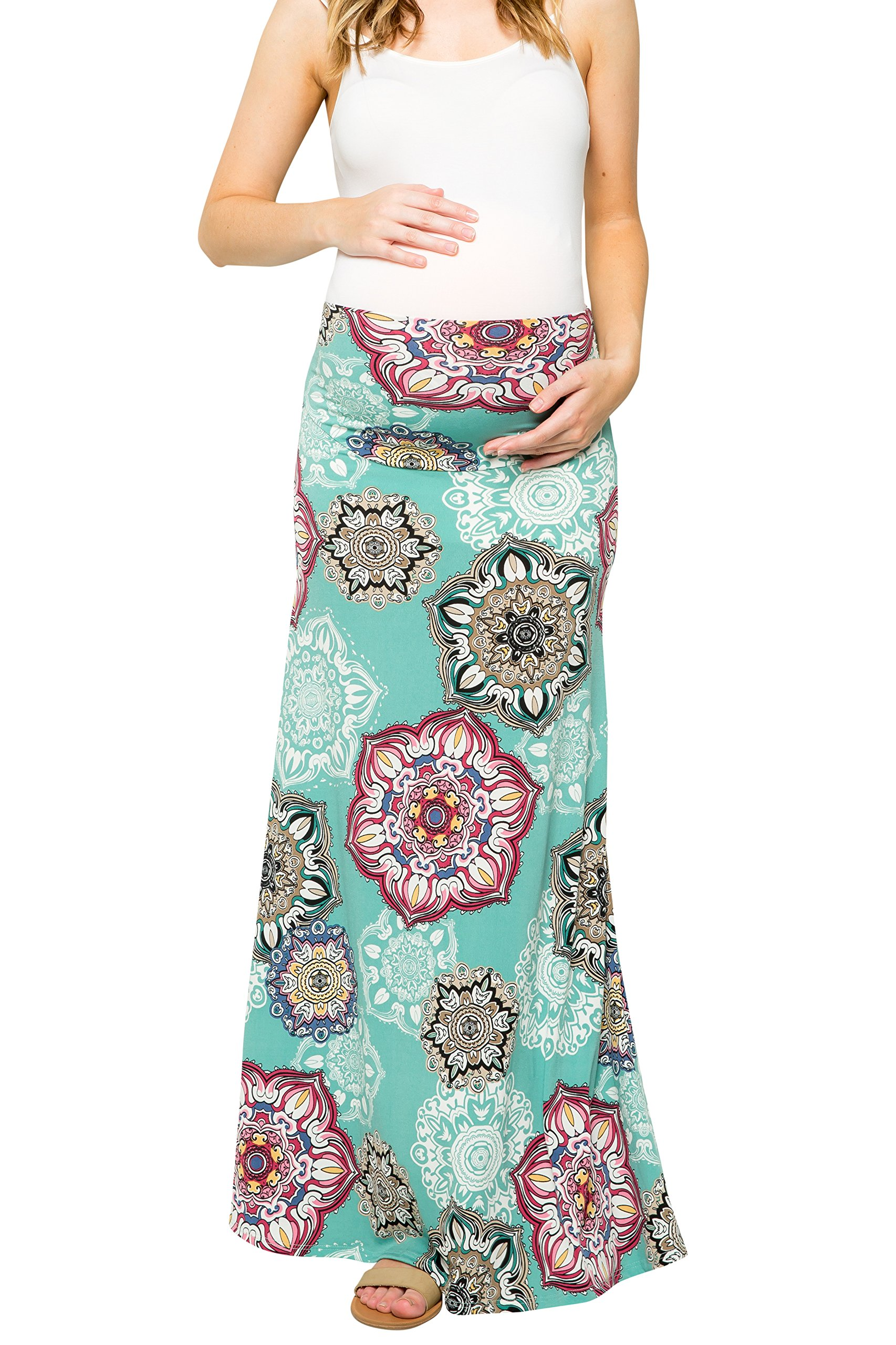 My Bump Women's Maternity Maxi Skirt with Tummy Control(Made in U.S.A) (Medium, Mint/Burgundy SKAA)